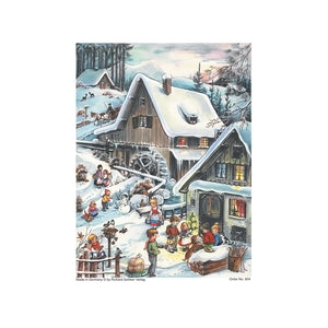 "Alexander Taron Importer ADV804 Sellmer Advent-Small Woodland Cottage-11.75"" H x 8.25"" W x .1"" D, Gray"
