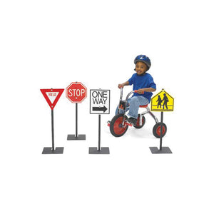 "Angeles Traffic Signs for Kids Outdoor Play Supplies for Bikes and Trikes (29""H, 6 lbs. Each)"