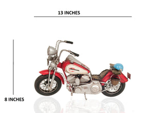 Old Modern Handicrafts Red Harley-Davidson Motorcycle Metal Handmade, One Size, Multi