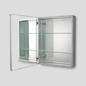 "Premier Aluminum Single Door - Polished Edge Mirror - 20""W x 26""H"