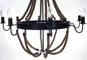Old Modern Handicrafts Rope Pendant Lamp with 8 Bulbs, Large
