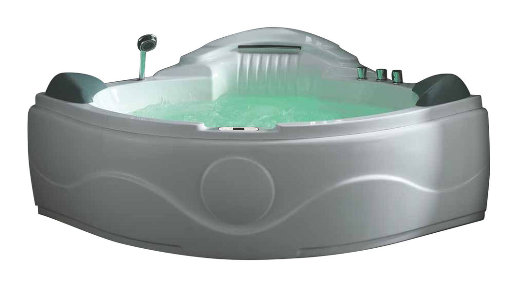 EAGO AM505ETL 5' Corner Acrylic Waterfall Whirlpool Bathtub for Two, White