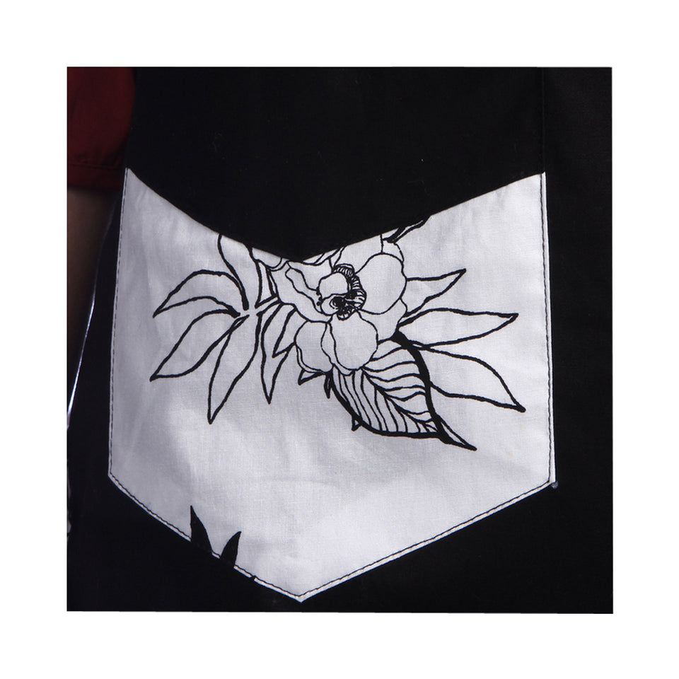 Angel Kitchen Cotton Black Flower Chef Apron With 2 Pockets, Adjustable Neck Strap and Waist Ties