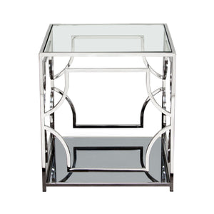 Avalon End Table with Clear Glass Top, MirroRed Shelf & Stainless Steel Frame