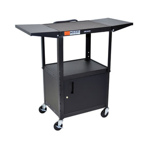 Luxor Multipurpose Height Adjustable Steel AV Utility Cabinet with Drop Leaf Cart - Black