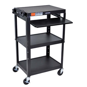 Luxor Adjustable Height Steel A/V Cart - Pullout Tray