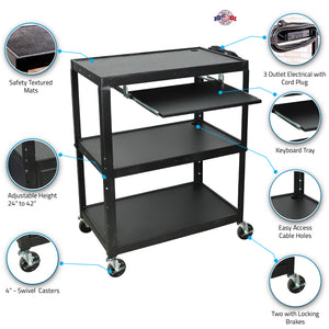 LUXOR AVJ42XLKB A/V Cart with Pullout Keyboard Shelf, Extra Wide, Adjustable Height, Steel