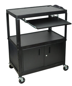 LUXOR AVJ42XLKBC A/V Cart with Keyboard Shelf and Cabinet, Extra Wide, Adjustable Height