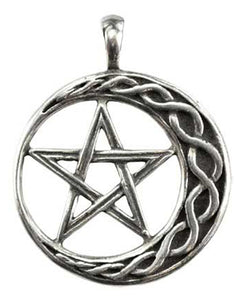 Braided Crescent Moon and Interwoven Pentacle Wicca Stability Amulet Necklace