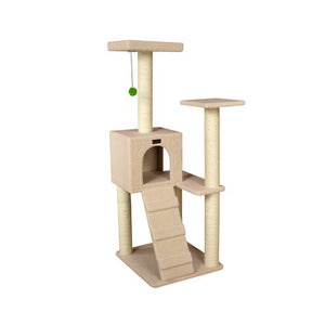 Armarkart 53-Inch Wooden Four Step Cat Tower Tree Condo Scratcher Kitten House - Ivory