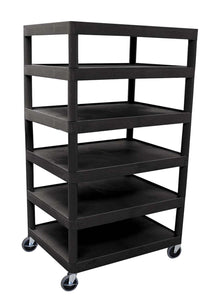 LUXOR BC60-B Utility Cart, Six Flat Shelf, Black