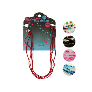 Bulk Buys Party Accessories Adjustable 3-String Seed Bead Necklace Pack Of 24