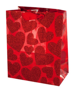 Small Red Glitter Hearts Gift Bag - Pack of 36