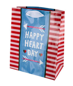 Happy Heart Day Striped Gift Bag - 36 Pack