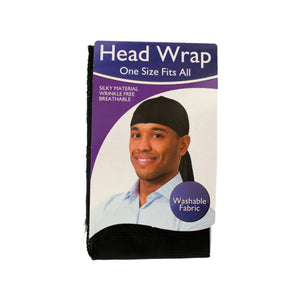 Silky Head Wrap in Black - Set of 18