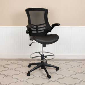 Mid-Back Mesh Ergonomic Drafting Chair with LeatherSoft Seat, Adjustable Foot Ring and Flip-Up Arms
