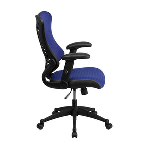 Flash Furniture High Back Designer Blue Mesh Executive Swivel Chair with Adjustable Arms [Bl-ZP-806-BL-GG]
