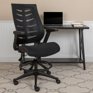 High Back Mesh Spine-Back Ergonomic Drafting Chair with Adjustable Foot Ring and Adjustable Flip-Up Arms