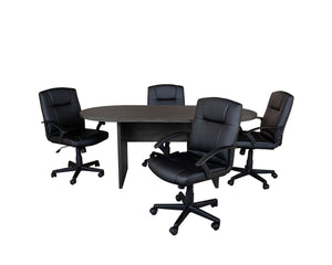 Flash Furniture 5 Piece Rustic Gray Oval Conference Table Set with 4 Black LeatherSoft-Padded Task Chairs