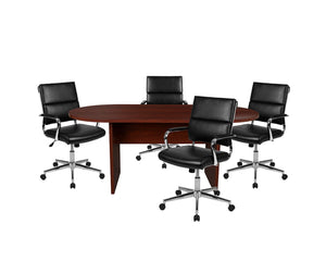 Flash Furniture 5 Piece Mahogany Oval Conference Table Set with 4 Black LeatherSoft Panel Back Executive Chairs