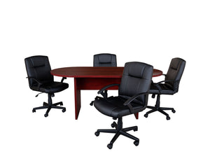 Flash Furniture 5 Piece Mahogany Oval Conference Table Set with 4 Black LeatherSoft-Padded Task Chairs