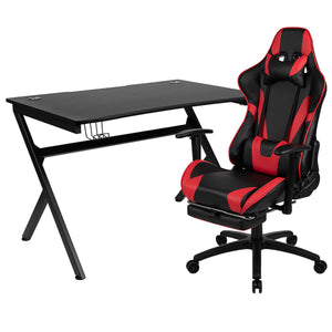 Flash Furniture Rectangle Gaming Desk and Footrest Reclining Chair Set with Detachable Cup Holder, Headphone Hook, 2 Wire Management Holes - Red/Black