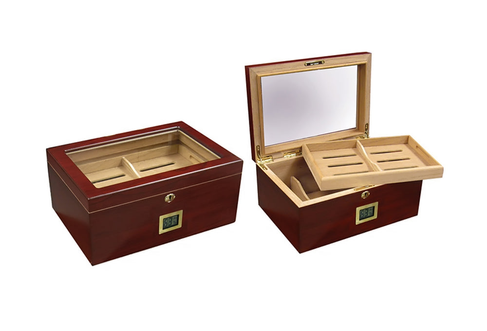 100 Ct. Humidor w/ Glass Top and External Digital Hygrometer