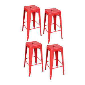 AmeriHome 4 Piece 30 Inch Metal Bar Stool Set - Red