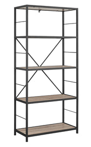 "63"" Rustic Metal and Wood Media Bookshelf"