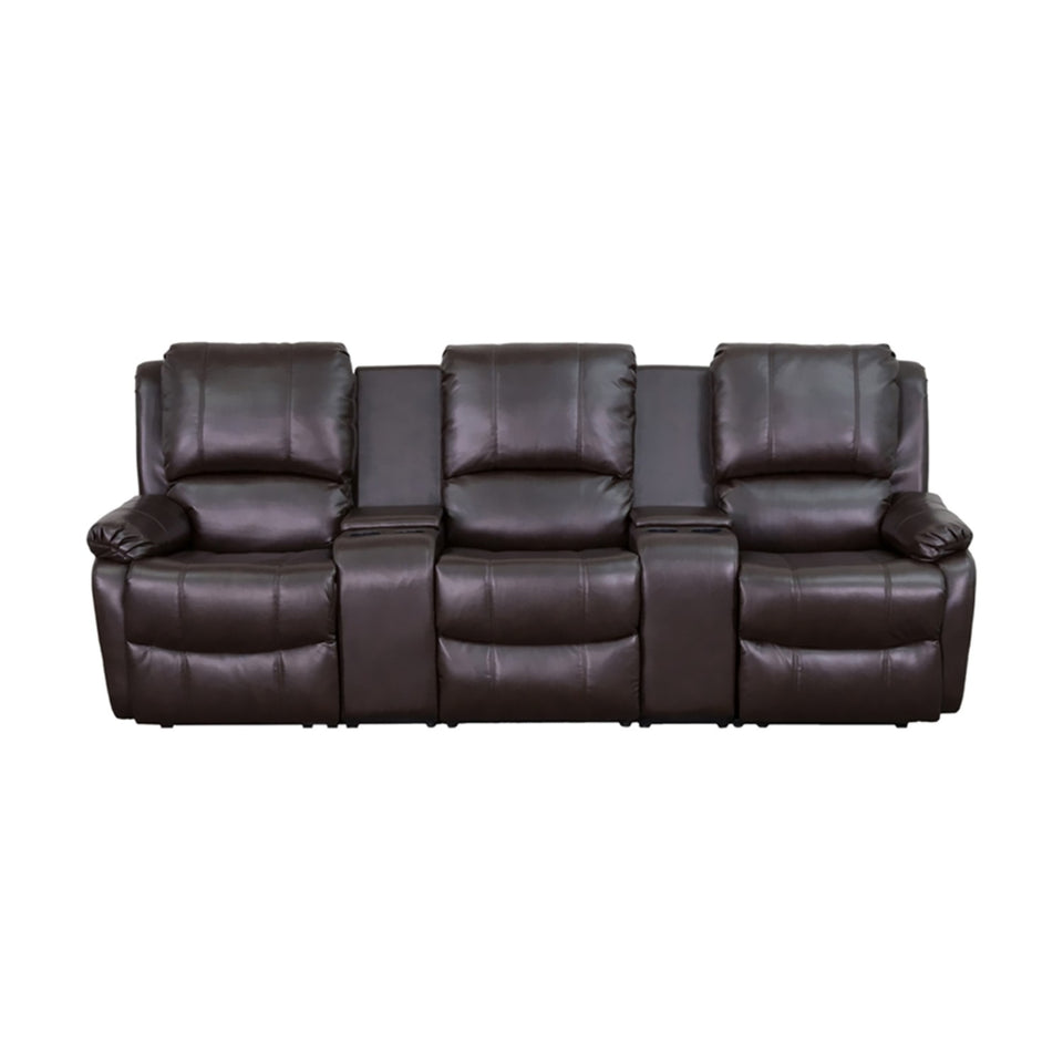 Flash Furniture Allure Series 3-Seat Reclining Pillow Back Brown Leather Theater Seating Unit with Cup Holders