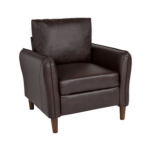 Flash Furniture Milton Park Upholstered Plush Pillow Back Arm Chair in Brown LeatherSoft
