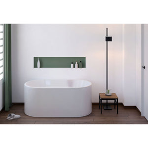 "Dorya Palmer 56"" Classic Contemporary Look Freestanding Tub with Adjustable Feets, Symmetrical Backrests - White"