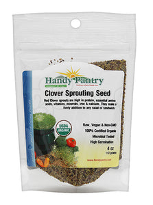 Certified Organic Red Clover Sprouting Seeds - (4 Oz) - Handy Pantry Brand: Red Sweet Clover Seed for Sprouting, Gardening, Salad Greens, Hydroponics, Edible Seed, Food Storage & More