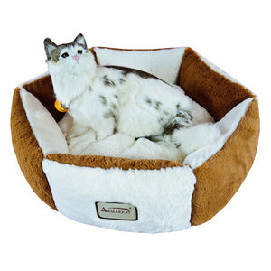 Armarkat Soft Plush With Waterproof Cat Sleeper Bed In Brown And Ivory