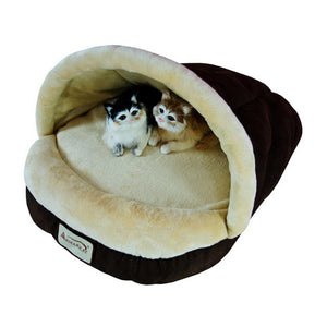 Armarkat Faux Suede And Soft Velvet With Waterproof Cat Sleeper Bed In Mocha And Beige