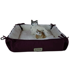 Armarkat Canvas And Soft Plush Cat Sleeper Bed In Burgundy And Ivory