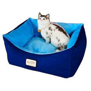 Armarkat Canvas And Soft Velvet With Waterproof Cat Sleeper Bed In Navy Blue And Sky Blue
