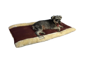 Armarkat Faux Suede And Fur Cat Sleeper Bed And Resting Mat In Indian Red And Beige