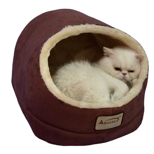 Armarkat Faux Suede And Faux Fur With Waterproof Cat Sleeper Bed In Indian Red And Beige
