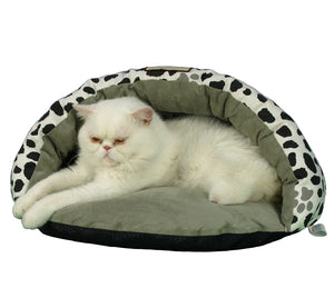 Armarkat Faux Suede And Canvas With Waterproof Cat Sleeper Extra Small Dog Bed In Sage Green And Pawpaint