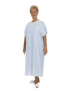 Essential Medical Supply Universal Fit Reusable Patient Gown with Ties, Blue