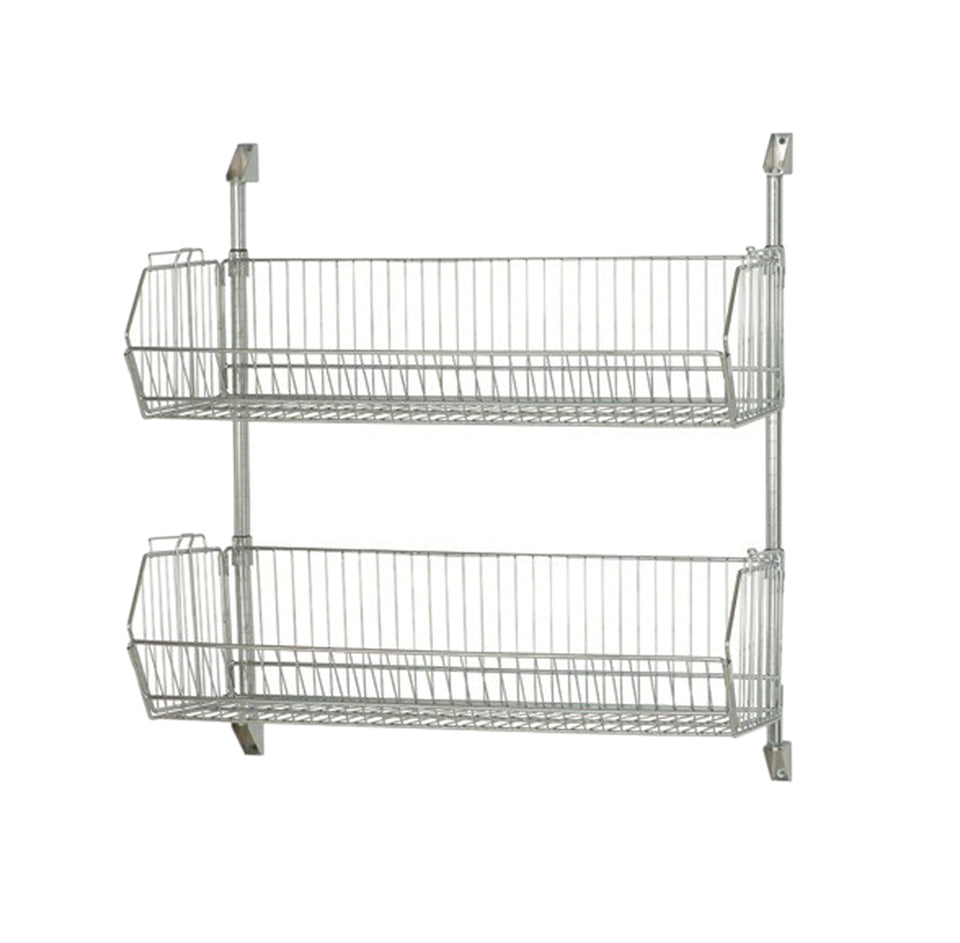 "Quantum Storage Systems Post Wall Mount 36"" X 34"" Cantilever with 2 Modular Shelf Basket 2036BC-Chrome"