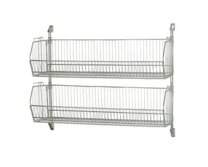 "Quantum Storage Systems Post Wall Mount 48"" X 34"" Cantilever with 2 Modular Shelf Basket 204812BC- Chrome"
