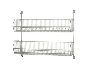 "Quantum Storage Systems Post Wall Mount 48"" X 34"" Cantilever with 2 Modular Shelf Basket 2048BC- Chrome"
