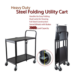 Rod Desyne Commercial Grade Rolling Folding Utility Cart, 2 Tier, Metal