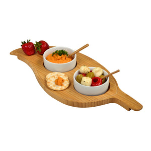 Two Bowl Leaf Serving Tray-Bamboo