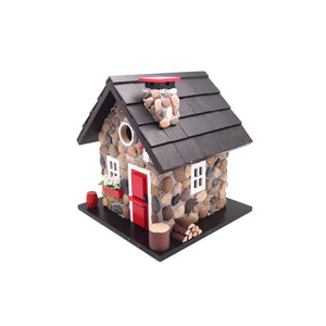 Home Bazaar Windy Ridge Birdhouse, Stone/Red/Black