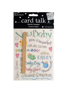 Baby Girl Rub-On Transfers - Pack of 24