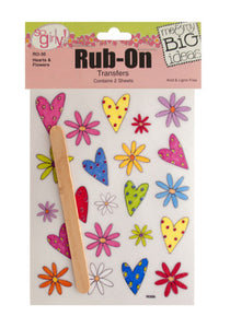 Hearts And Flowers Rub-On Transfers - Pack of 24
