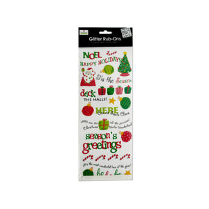 Christmas Glitter Rub-On Transfers - Pack of 24